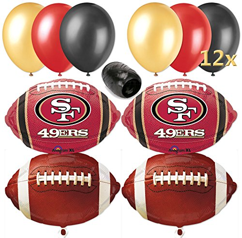 San Francisco 49ers Football Balloon Decorating Party Pack 17pc Red, Gold]()