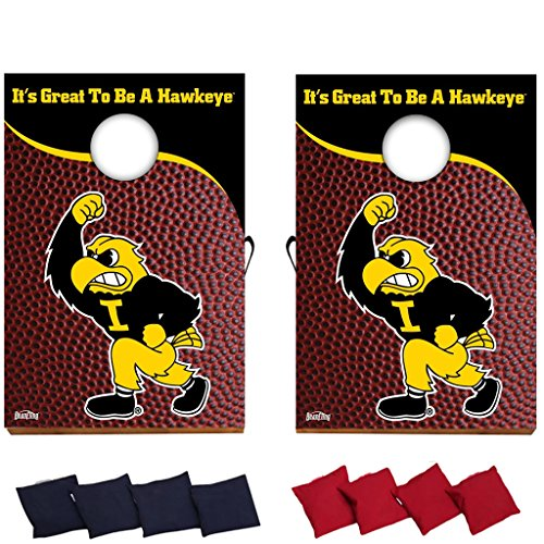VictoryStore Yard Sign Outdoor Lawn Decorations: University of Iowa - Corn Hole Bag toss - Design#2 - Fighting Herky Football