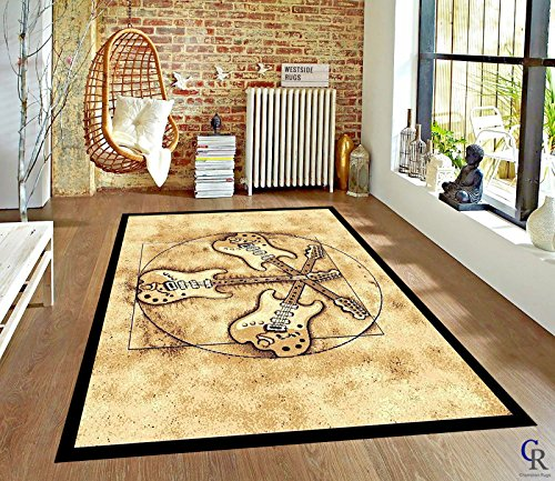 MUSIC ROOM BAND ROCK & ROLL THREE ELECTRIC GUITARS NOVELTY AREA RUG (5' 3