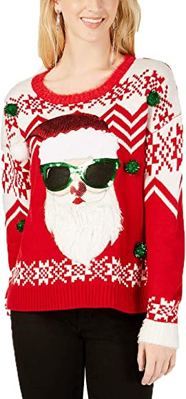6f74e8dc7 Hooked Up by IOT Juniors' Embellished Santa Sweater (Christmas Red, ...