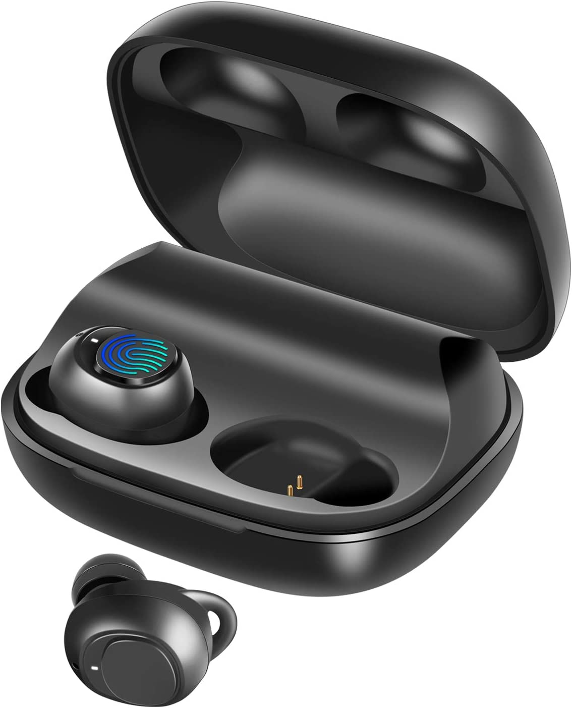 Wireless Earbuds, BassPal IPX7 Waterproof Bluetooth 5.0 Headphones, 60H Playtime, Deep Bass Stereo Sound Sports in-Ear Earphones Headset w Mic, Touch Control, AAC CVC 8.0, 2200mAh Rechargeable Case