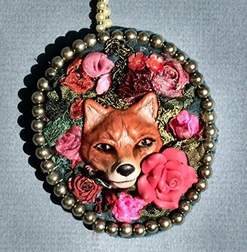 He Thinks He's Sly. Red Polymer Clay Fox Hidden in Ribbon Embroidery Roses Necklace or Brooch with Faux Pearls.