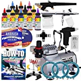 PointZero Cake Airbrush Decorating Kit - 3 Airbrushes, Stand, Compressor, and 12 Chefmaster Colors