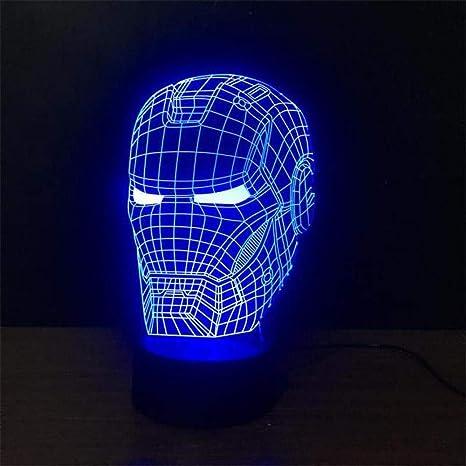 Luce Notturna 3d Casco Iron Man Base Nera Per Bambini Lampada Regalo Da 50 Mm Palla Con Cambio Automatico Del Colore Delle Luci Sulla Base Moderno Amazon It Illuminazione