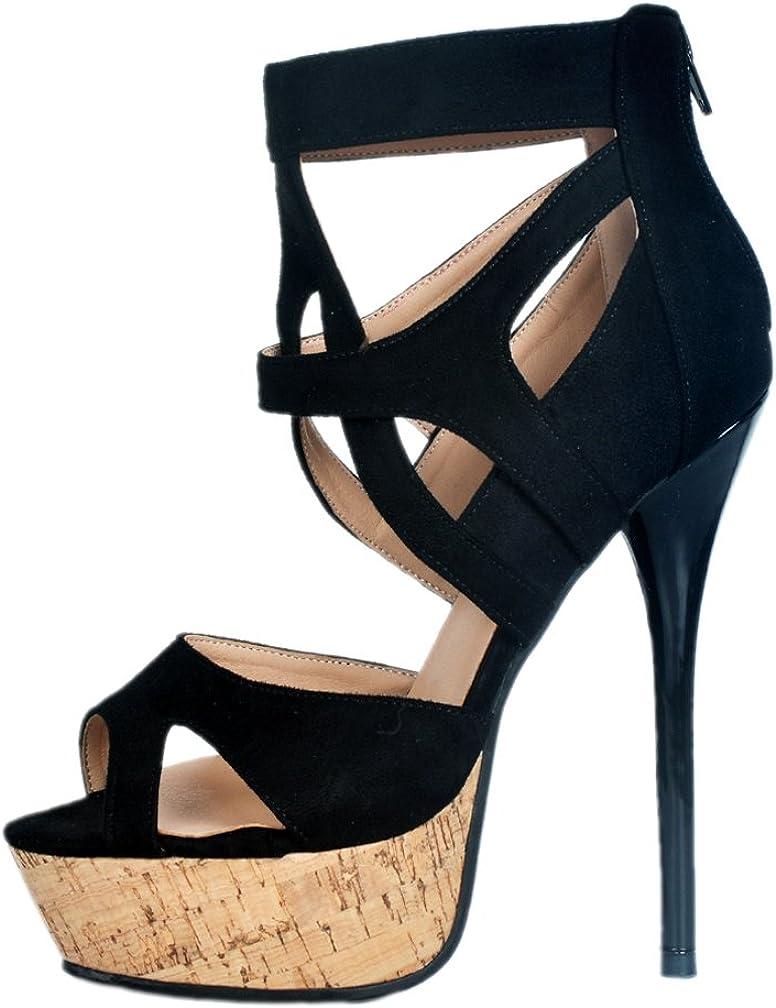 CASSOCK Ladies Handmade Crosscriss Open-Toe Party Evening High Heel Fashion Sandals Shoes