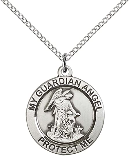 18 Chain Sterling Silver Guardian Angel Pendant