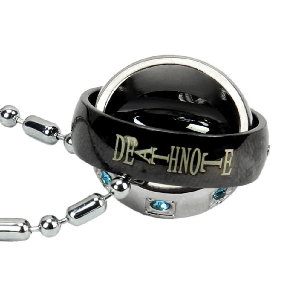 Cosplay Death Note L·Lawliet Double Ring Rotatable Necklace Anime Pendant