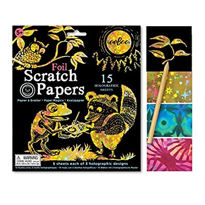 eeBoo Foil Scratch Art Papers, 15 Holographic Sheets and Bamboo Stylus: Toys & Games