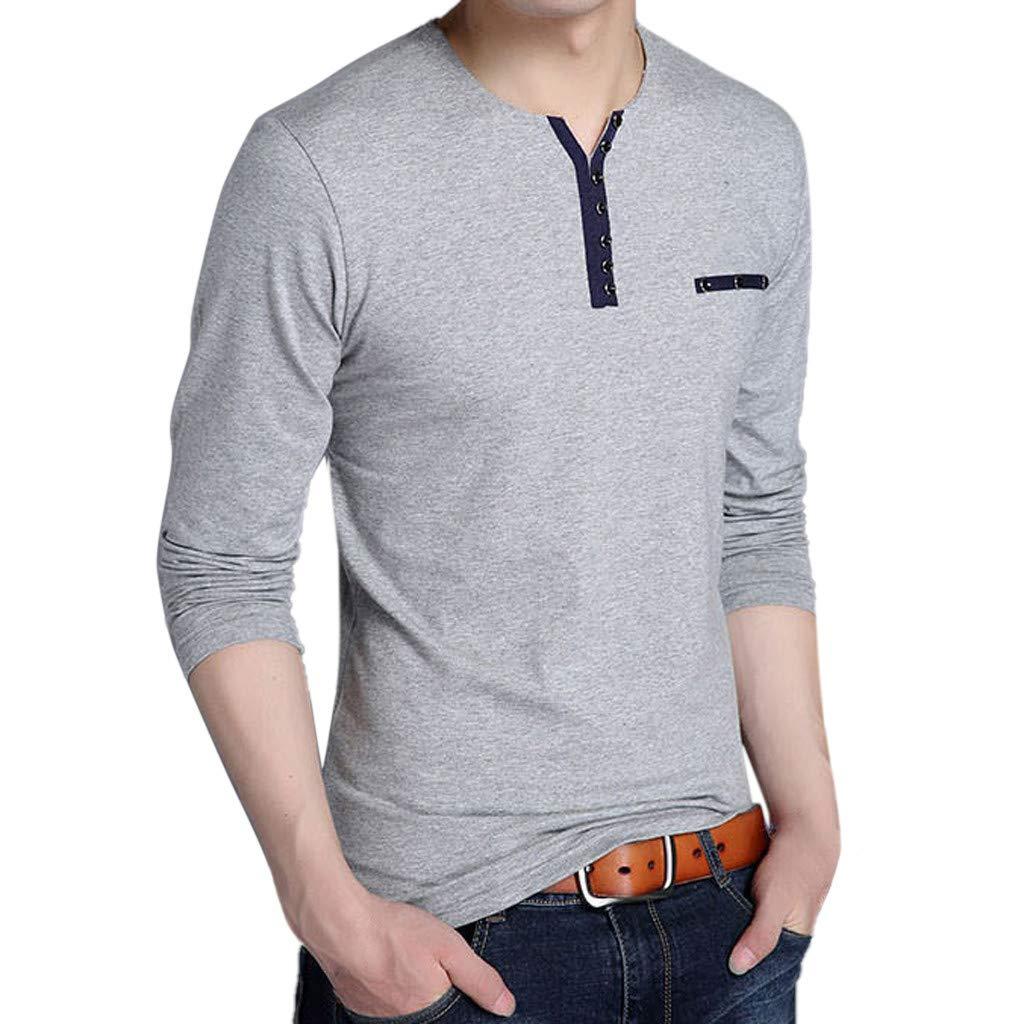 LLNONG Mens Spring Casual Fashion Long Sleeved Cotton T-Shirt Tops Blouse Comfy Soft Button Henley Shirt