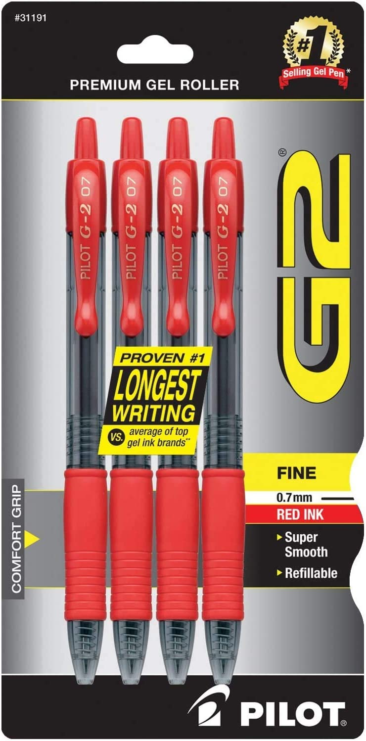 PILOT G2 Premium Refillable /& Retractable Rolling Ball Gel Pens Fine Point Red Ink 4-Pack - 1 Pack 31191