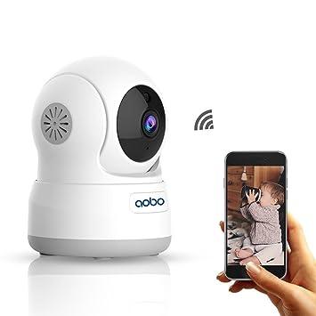 AOBO Cámara WiFi Vigilancia IP 720P HD P2P Pan/Tilt IR Visión Nocturna con Detectores de Movimiento Monitor bebé/Audio bidireccional y Altavoz Cámara ...
