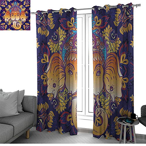 bybyhome Mandala Room Divider Curtain Screen Partitions Colorful Floral Arrangement Ornate Illustration of Blossoming Petals and Leaves Kitchen Curtain Multicolor W120 x L84 Inch