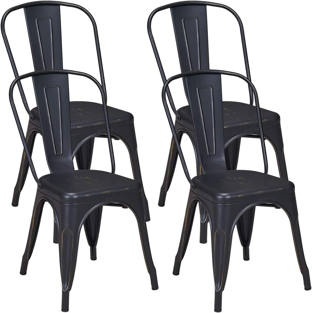 Duhome Set of 4 Metal Dining Chairs Distressed Stackable Chic Dining Bistro Cafe Side Chairs Distressed Black Gold