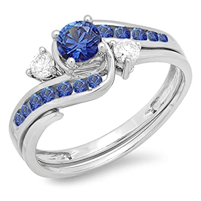 Amazon 10K White Gold Blue Sapphire And White Diamond Swirl