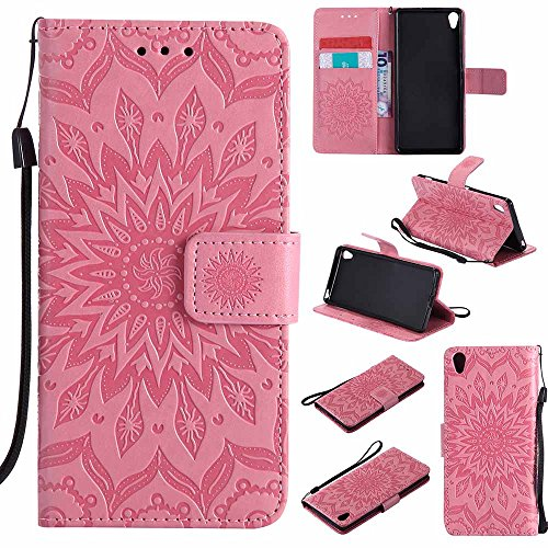 Card Pink Sony Xa Slot Design Mandala Pu Xperia Dfly Embossed For Premium Soft Flip Kickstand Slim Leather Case Cover Protective Xa Wallet Holder BRRCfwqPx
