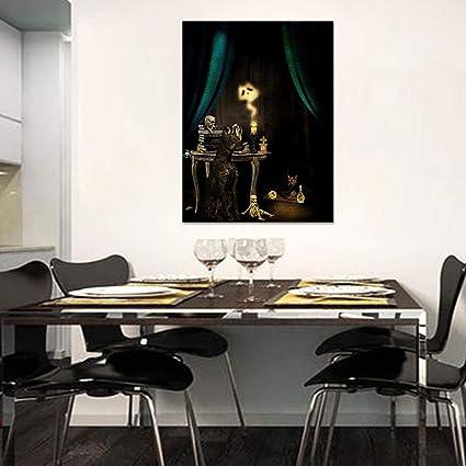 Leinwanddruckleinwand Malerei Gothic Black Dog Schädel Kerze ...