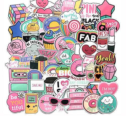 Floranea 105 Pcs Cute Girl Stickers Vinyl Lovely Pink Adorable Waterproof Stickers for Kid Teen Laptop Phone Guitar Computer Water Bottles Skateboard Bike Motorcycle Journal Scrapbooking]()