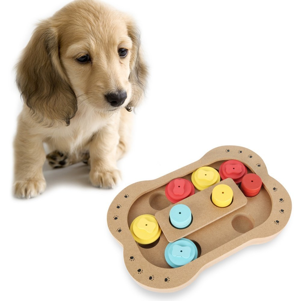 Bone Leagway Pet Intelligence Toy Eco-Friendly Interactive Fun Hide and Seek Food Treated Wooden Pet Puzzle Toy for Small Or Medium Dogs and Cats (Bone)