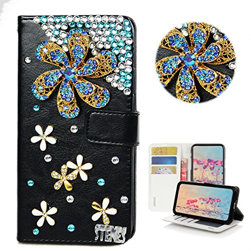 STENES LG Phoenix Plus Case - Stylish - 3D Handmade Bling Crystal Windmill Flowers Floral Design Magnetic Wallet Credit Card Slots Fold Stand Leather Cover for LG Phoenix Plus/LG K30 ()