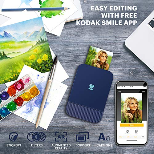 Zink KODAK Smile Instant Digital Printer – Pop-Open Bluetooth Mini Printer for iPhone & Android – Edit, Print & Share 2x3 ZINK Photos w/FREE Smile App – Blue