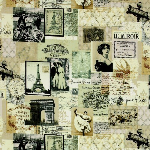 Timeless Treasures April in Paris News Vintage Collage Antique, 44-inch (112cm) Wide Cotton Fabric Yardage