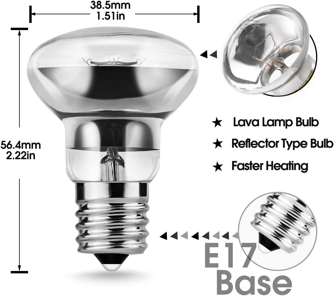 R39 E17 Replacement Light Bulb Lava Lamp 30 Watt Motion Reflector Type 2 Pack