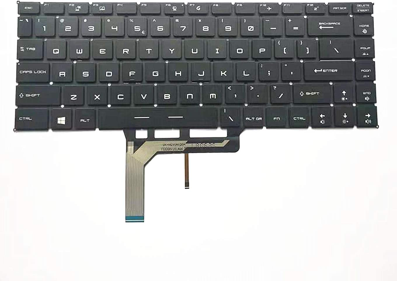 QUETTERLEE Replacement New US Black English Backlit Laptop Keyboard for MSI GS65 GS65VR P65 WP65 WS65 PS63 GF63 PS42 MS-16Q1 Series 787766-020 US010 NSK-FDABN_B00 White Backlight