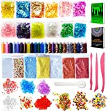 COZYOURS Slime Supplies Kit 68 Pack Include Foam Balls,Glitter,Fishbowl Beads,Rice Beads,Sugar Paper,Slices,Slime Tools,Opp Bags.Slime Making DIY Hacks and Adult Coloring Bundle E-books Included!