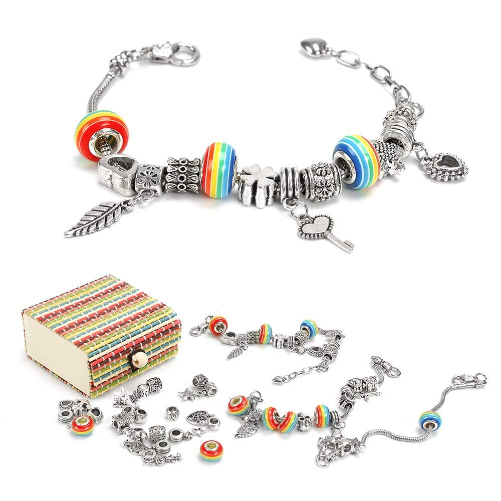 Sun studio Charm Armband Kit DIY Schmuck Bastelset mädchen Handwerk Perle überzogen mit Silber Kette schmuck mädchen für Basteln MEHRWEG SUN029