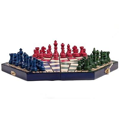 3 Tres Jugadores Juego De Ajedrez - PEQUEÑO - 3 color - REGLAS INCLUIDO: Juguetes y juegos