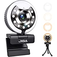 Webcam HD 1080P, Web Camera with Microphone and 3 Colors Adjustable Ring Light, Plug and Play, Streaming Webcam for PC…