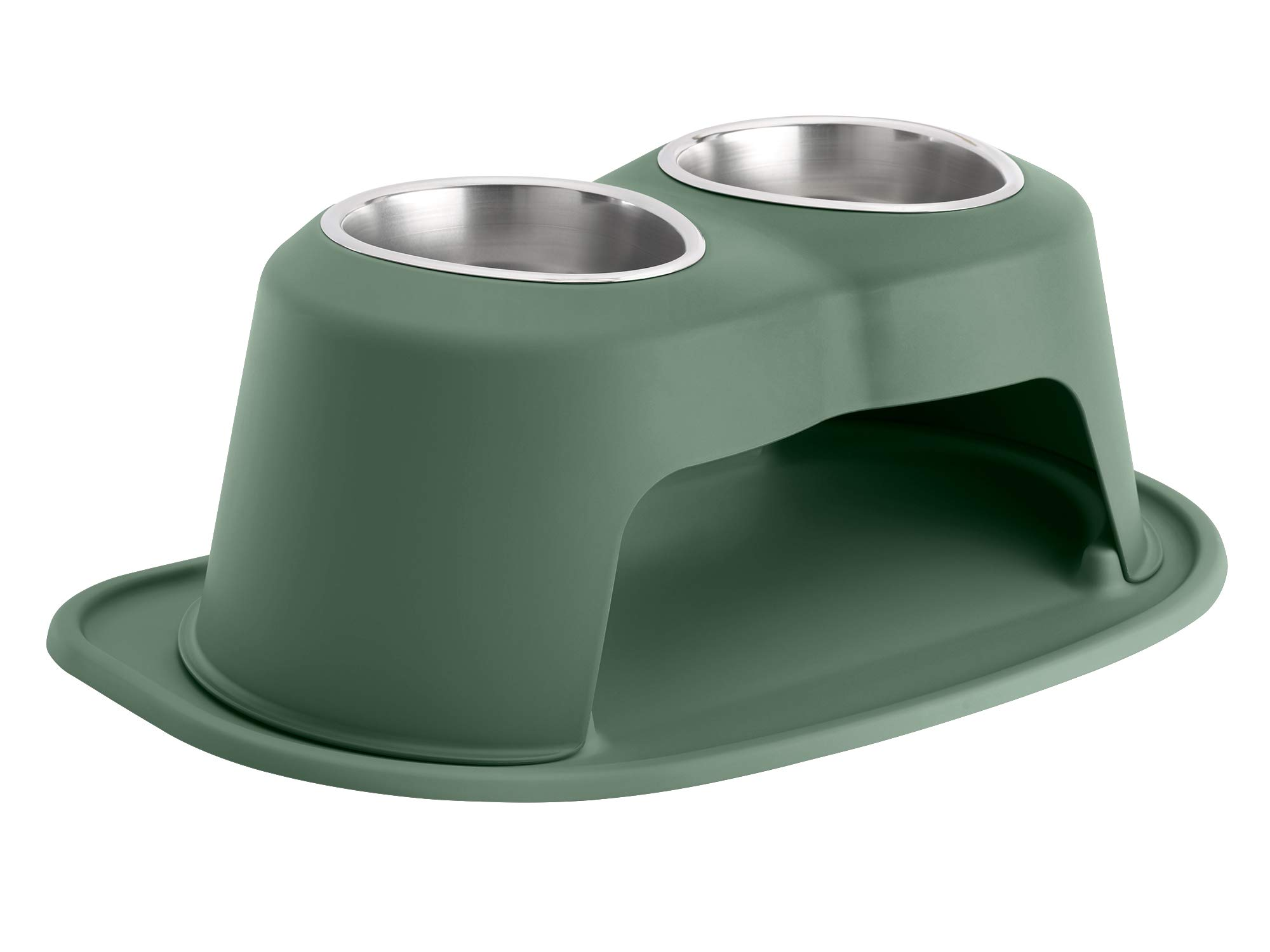 PetComfort Double High Feeding System with Standard Mat (8 inch, Hunter Green)