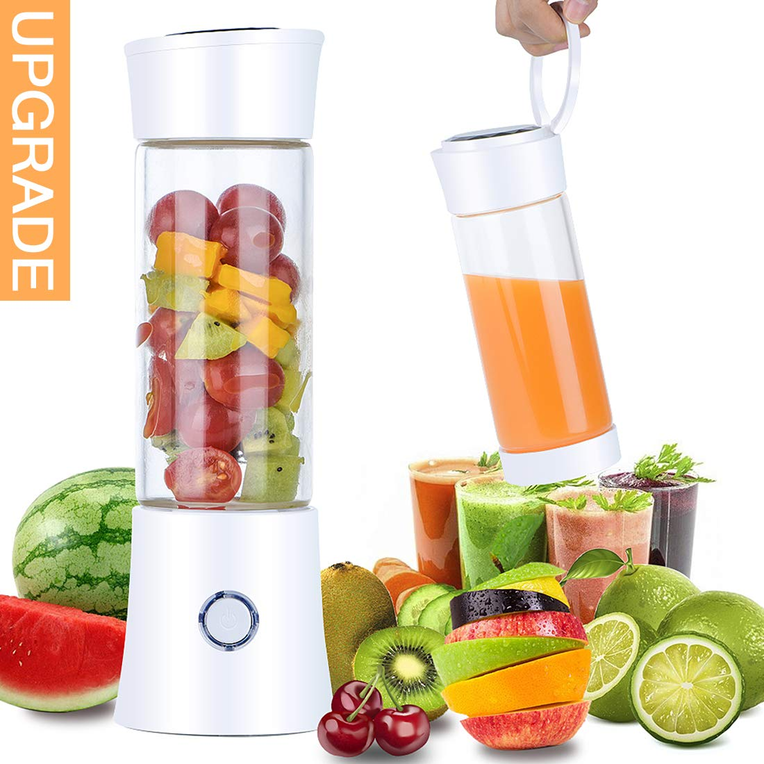 Portable Blender, 【2019 Newest】Pendali Personal Size Smoothie Juice Blender Fruit Mixer Six Blades in 3D, 480ml Glass Juicer Cup with 4000mAh USB Rechargeable for Travel Office, (FDA BPA Free)