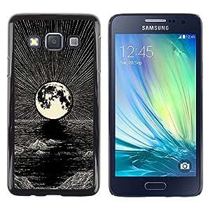 """For Samsung Galaxy A3 Case , Luna Dibujo al lápiz tinta Mar Noche"""" - Diseño Patrón Teléfono Caso Cubierta Case Bumper Duro Protección Case Cover Funda"""