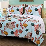 Coastal Sea Ocean Blue Luxury Quilt and Shams Set 100 Cotton 3 Piece Reversible Full/Queen Size Bedding - Includes Bed Sheet Grippers Straps