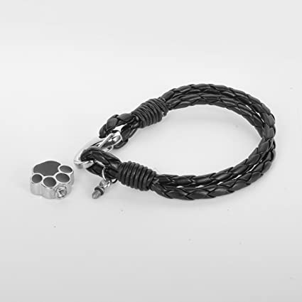 HOUSWEETY Pet Paw Waterproof Cremation Urn Leather Bracelet Ashes Keepsake Memorial Jewelry