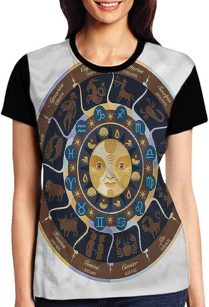 Astrology Tops Casual Female Mystic Oriental Horoscope Tees Short Sleeve Tshirts Girls Gift Tops