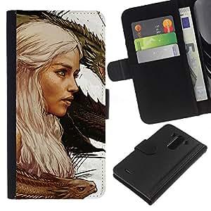 YiPhone /// Tirón de la caja Cartera de cuero con ranuras para tarjetas - Targaryen dragón Madre - LG G3