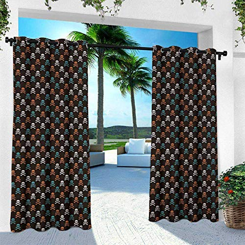 Hengshu Pirates, Outdoor Privacy Curtain for Pergola,Different Colored Graphic Skull Figures with Bones on Black Background Halloween, W120 x L84 Inch, Multicolor