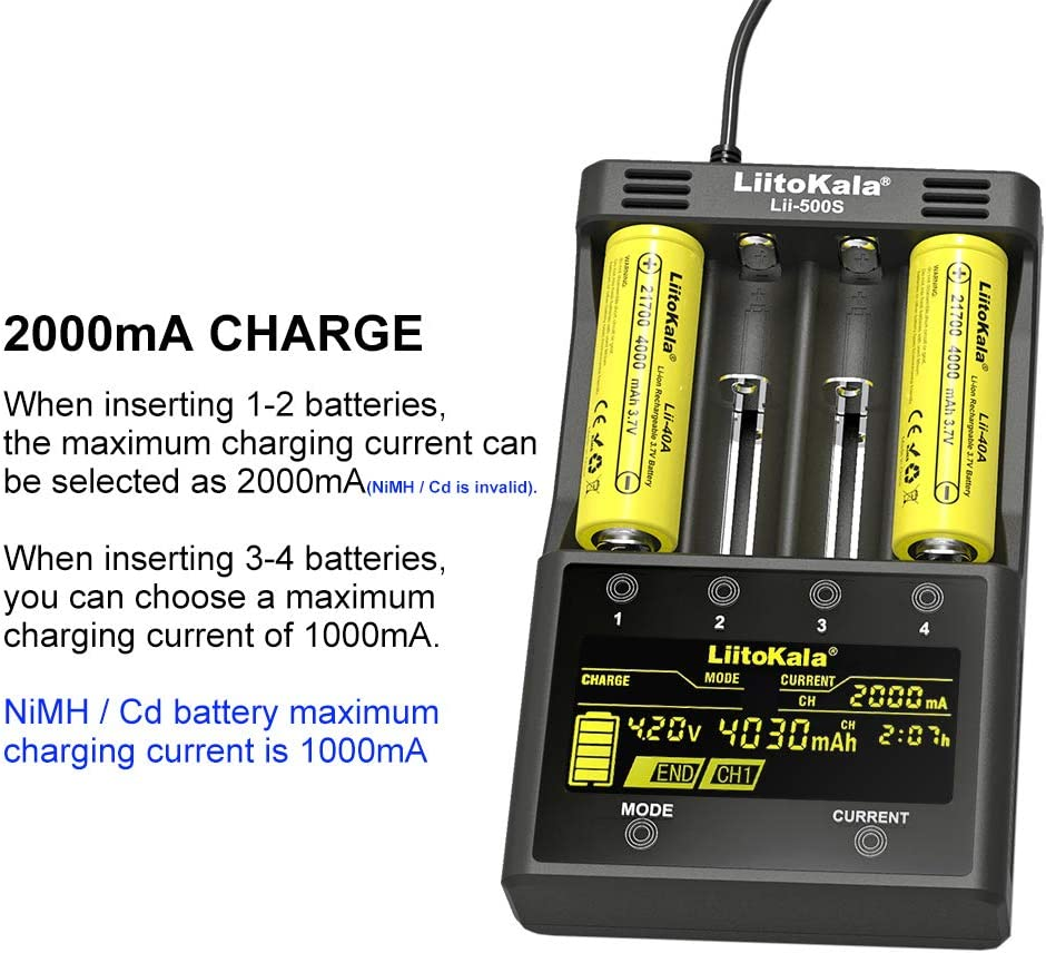 LiitoKala Lii-500S 18650 Battery Charger for 18650 26650 21700 AA AAA Battery Touch Button LCD Display Test The Battery Capacity.