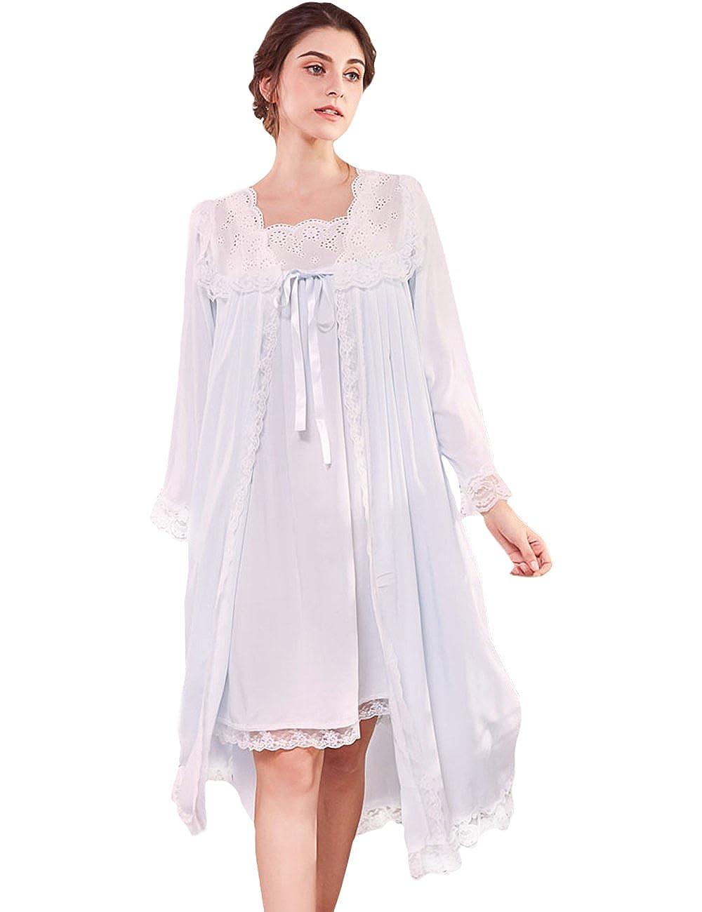 AIKOSHA Womens Retro Palace Style Full Flare Sleeve Two Piece Lace Cotton  Nightdress Set  Amazon.co.uk  Clothing 43e0c2d05