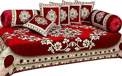 Gurnoor 500 TC Chenille Velvet Geometric Floral Diwan Set (Set of 8)