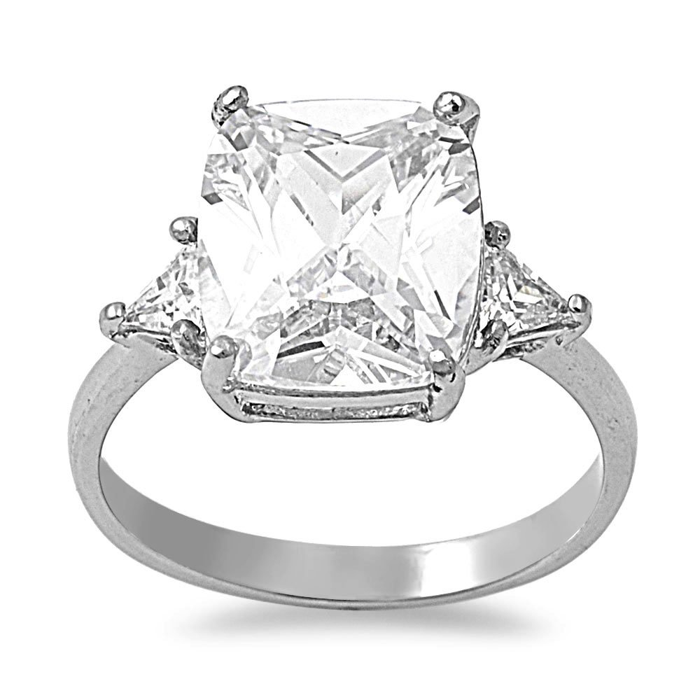 CloseoutWarehouse Radiant Trillion Cut Combo Cubic Zirconia Engagement Ring Stainless Steel Size 5