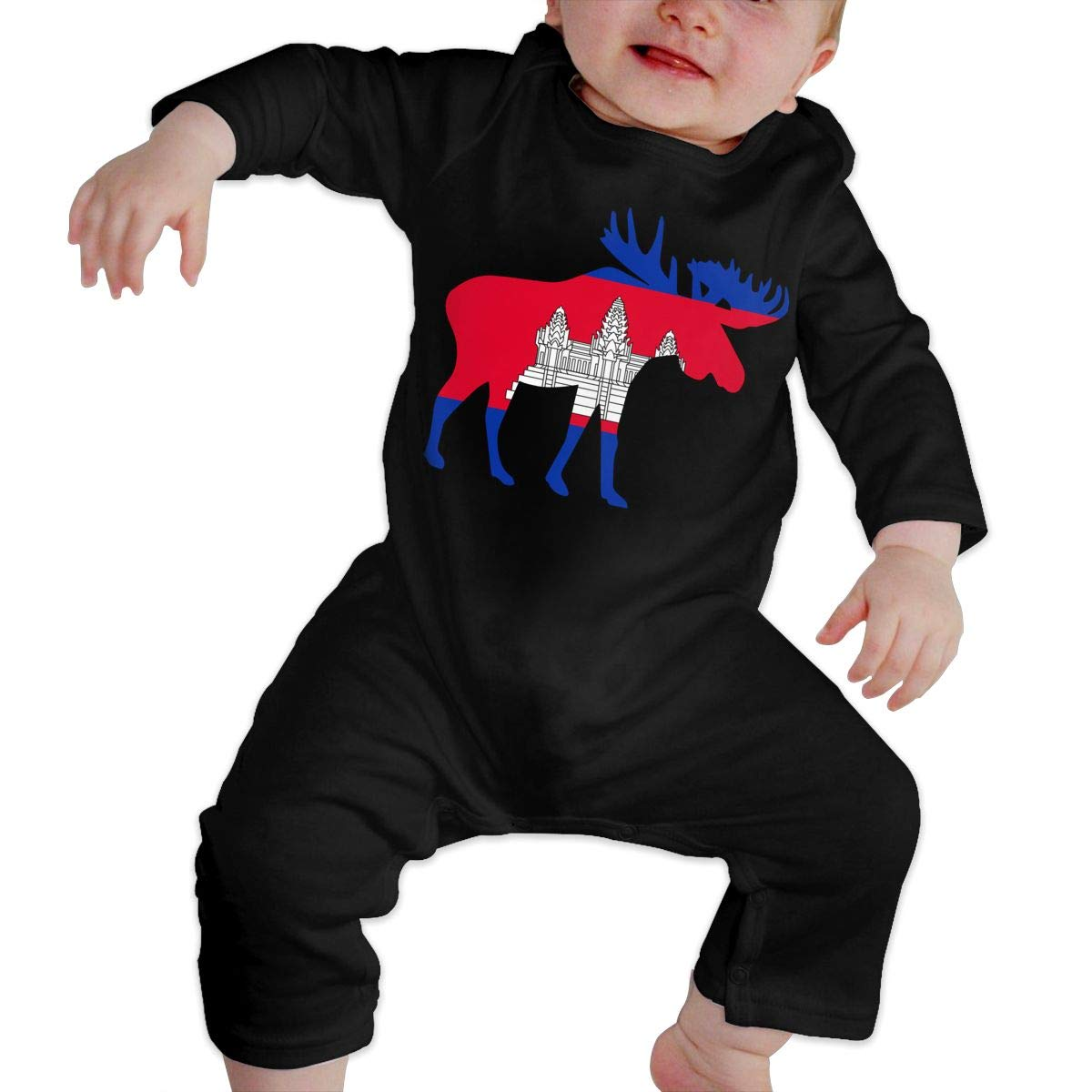 U99oi-9 Long Sleeve Cotton Rompers for Baby Boys and Girls Fashion Cambodia Moose Crawler