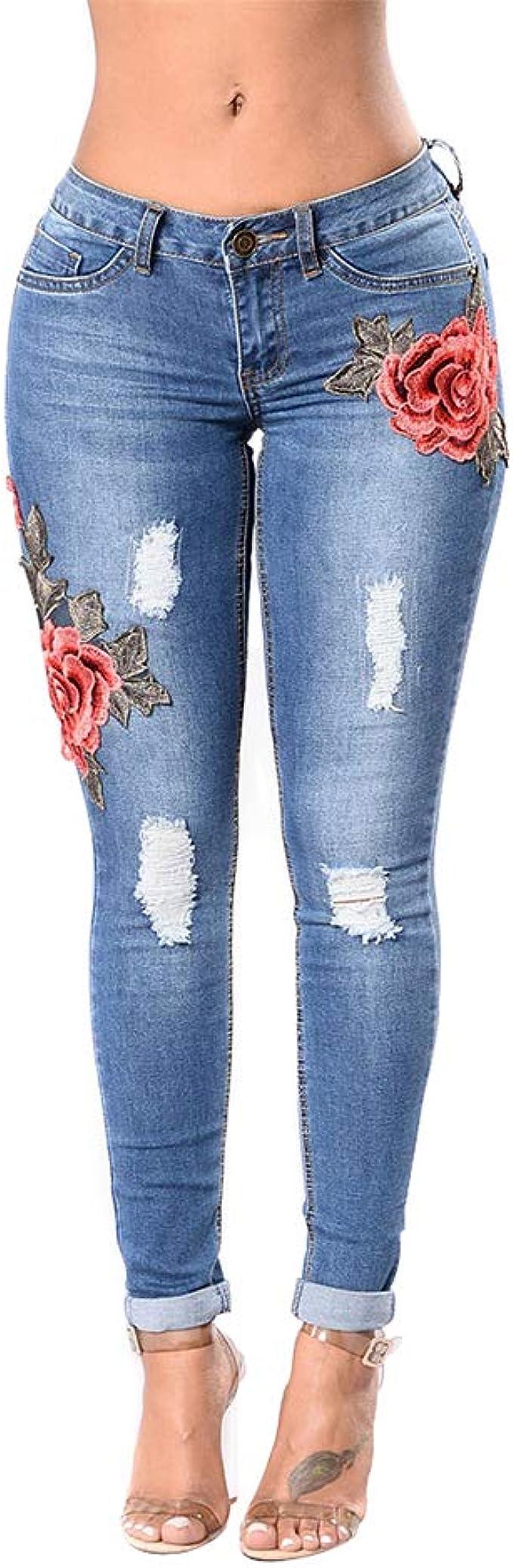 Hopin Jeans Attillati Strappati Skinny da Donna Jeggings Ricamati a Fiori