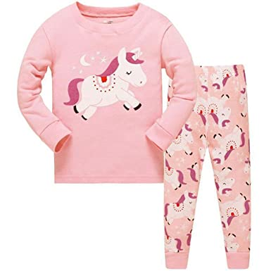 13590f23e6 Girls Christmas Pyjamas Set Toddler Clothes Sleepwear Animal Printed  Nightwear Winter Long Sleeve PJs 2 Piece Outfit Xmas Gift for Kids   Amazon.co.uk  ...