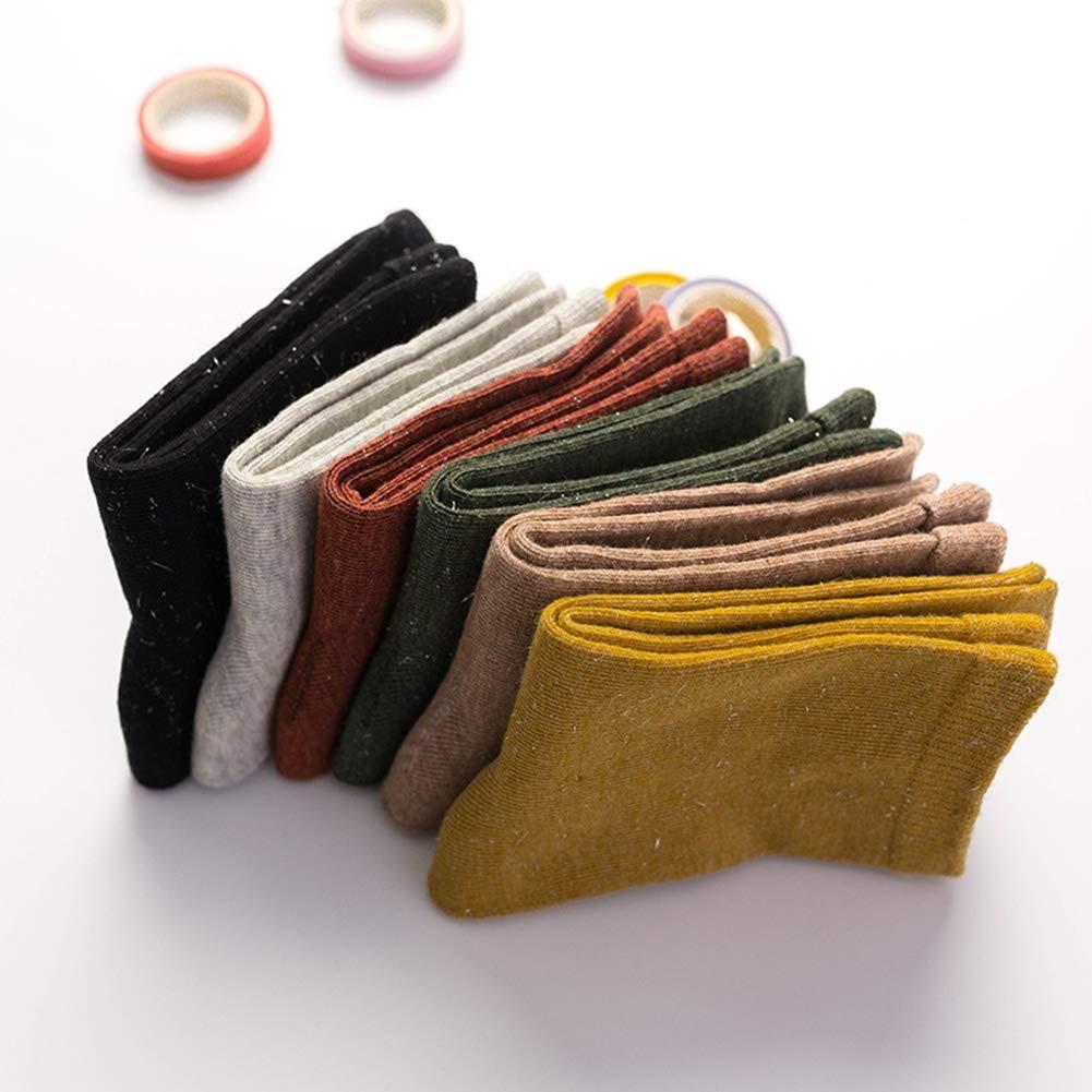 6 Pairs Unisex Baby Socks Kids Solid Cotton Warm Soft Crew Socks