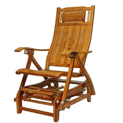 XIAOYAN Silla de descanso clásica Mecedora Bamboo Arts ...