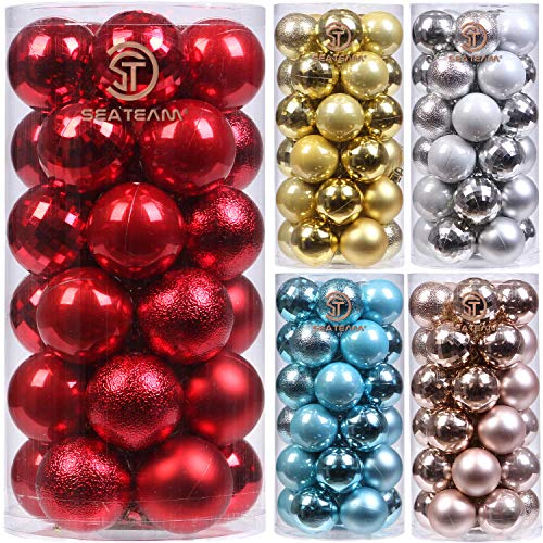 Sea Team 30ct Christmas Ball Ornaments Shatterproof Christmas Tree Baubles Decorations with Tied Strings for Holiday Wedding Party Decor, Glitters-free Easy to Clean, 2.36
