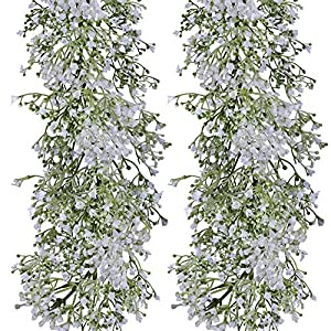 "Supla 3.9' Long 5.9"" Wide Baby's Breath Garland Artificial Wedding Greenery Garland Holiday Party Greens Fake Hanging Gypsophila Garland Table Runner Garland for Wedding Decoration Outdoors Indoors 110"